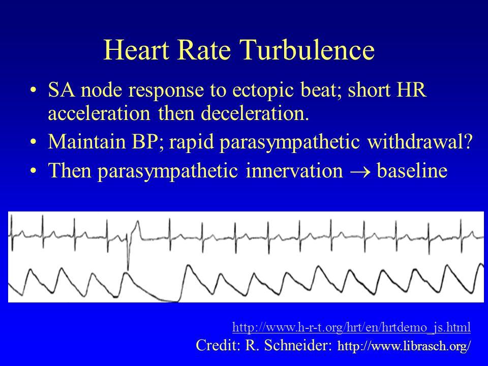 Heart Rate Turbulence Ectopic beats disturb RR tachogram stationarity Disturbance lasts 10 - 20 beats HRT quantifies this disturbance using 2 metrics: –TO: Turbulence Onset –TS: Turbulence Slope