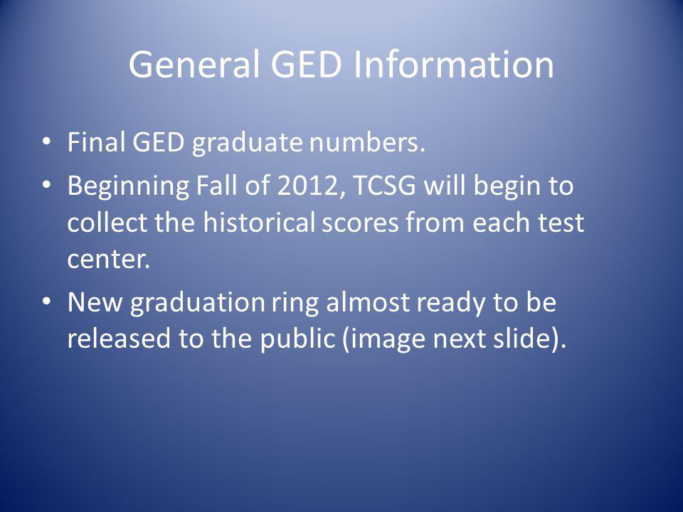 General GED Information Final GED graduate numbers.