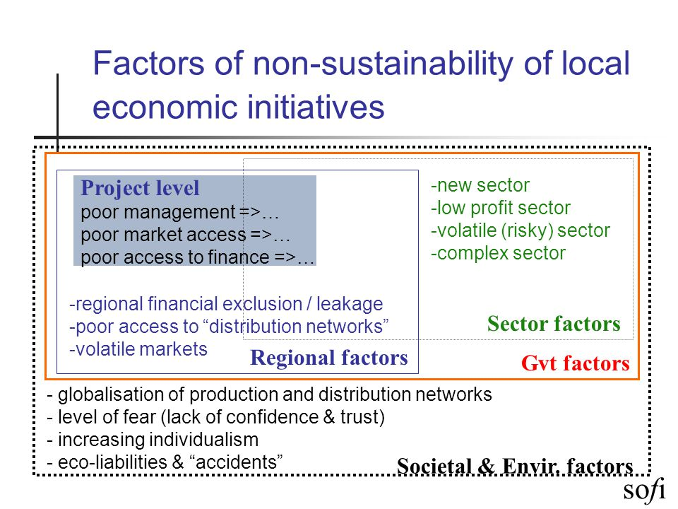 sofi Factors of non-sustainability of local economic initiatives Project level poor management =>… poor market access =>… poor access to finance =>… Regional factors -regional financial exclusion / leakage -poor access to distribution networks -volatile markets Sector factors -new sector -low profit sector -volatile (risky) sector -complex sector Societal & Envir.