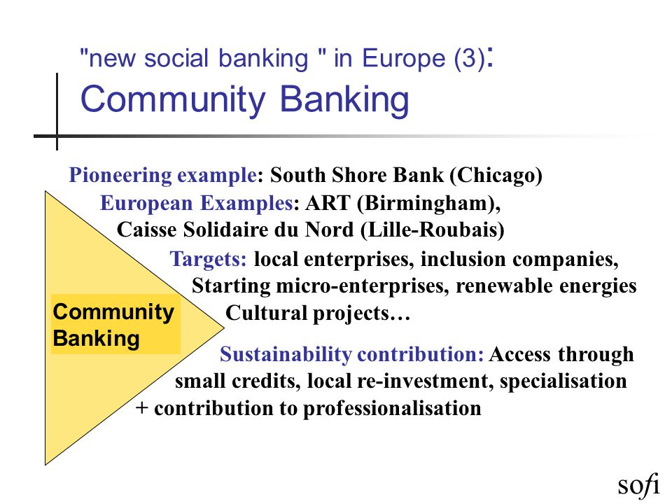 sofi new social banking in Europe (4) : Micro-Finance Microcredit Pioneering example: Grameen Bank (Bangladesh) European examples: Adie (Fr), Aspire (Belfast), WWB (Sp), Kvinnebanken (No), Fundusz Mikro (Pol)… Targets: unemployed, individual entrepreneurs, existing micro-enterprises Sustainability contribution: Access though very small loans, Finnavial innovation + contributes to professionalisation