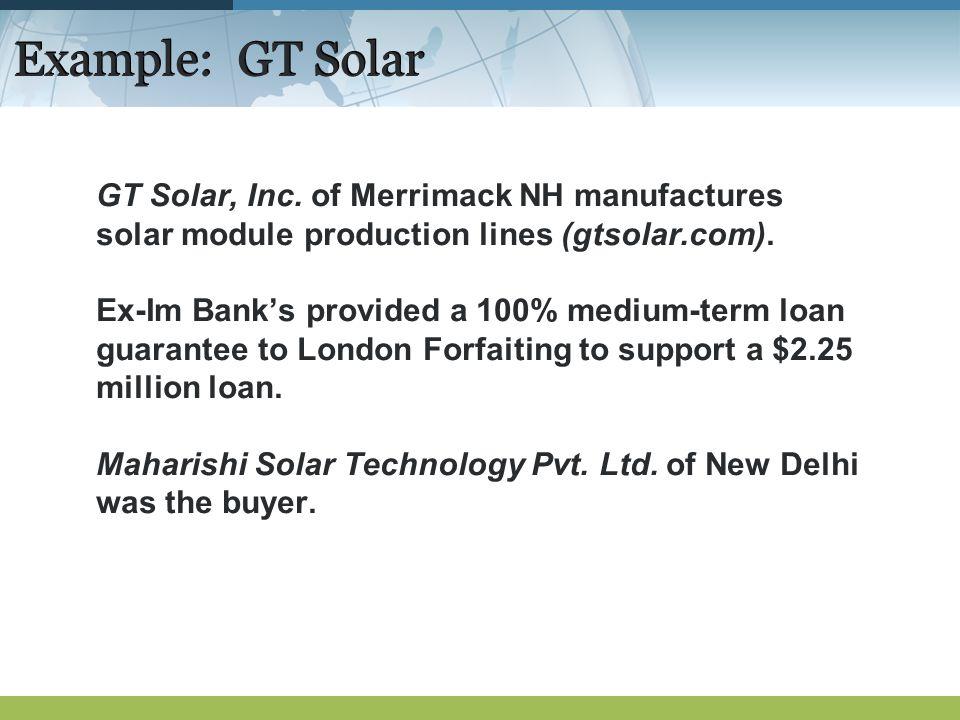 Example: GT Solar GT Solar, Inc.