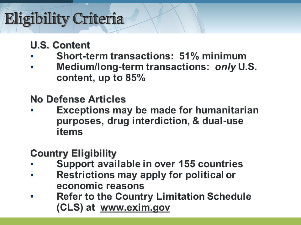 Eligibility Criteria U.S.