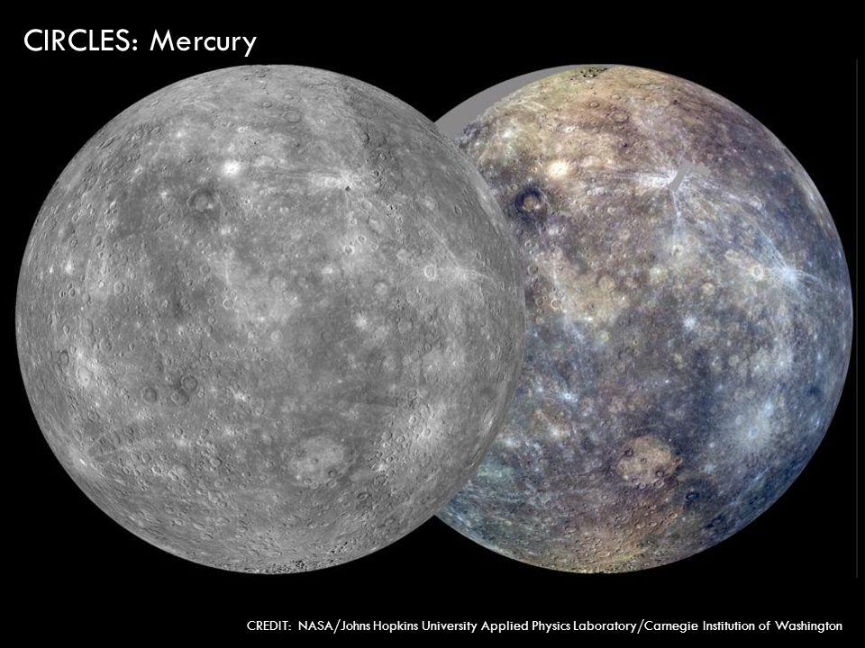 CIRCLES: Mercury CREDIT: NASA/Johns Hopkins University Applied Physics Laboratory/Carnegie Institution of Washington