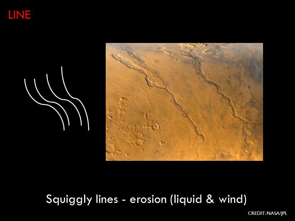 Squiggly lines - erosion (liquid & wind) LINE CREDIT: NASA/JPL