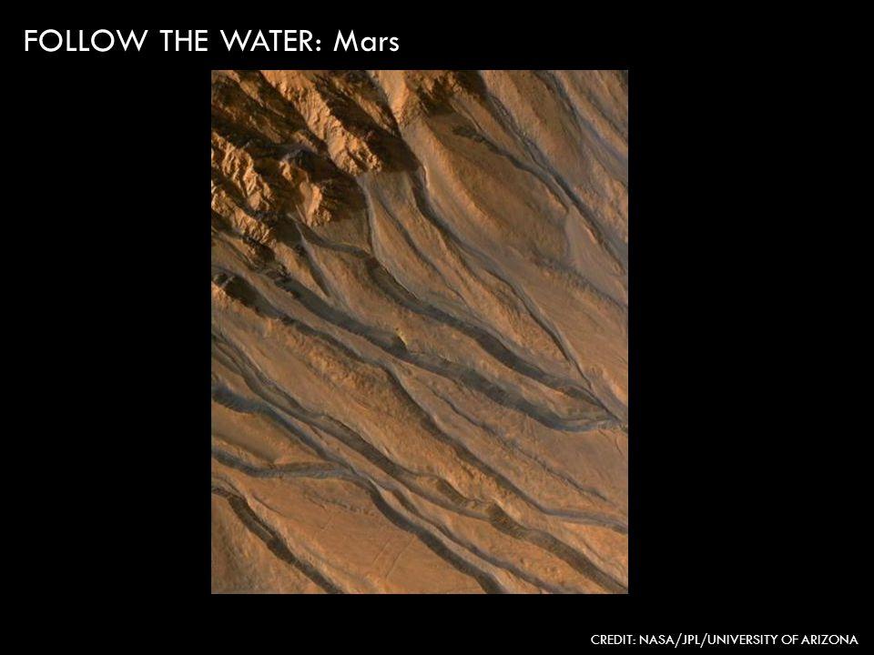 CREDIT: NASA/JPL/UNIVERSITY OF ARIZONA FOLLOW THE WATER: Mars