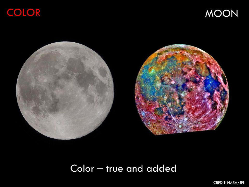 COLOR CREDIT: NASA/JPL MOON Color – true and added