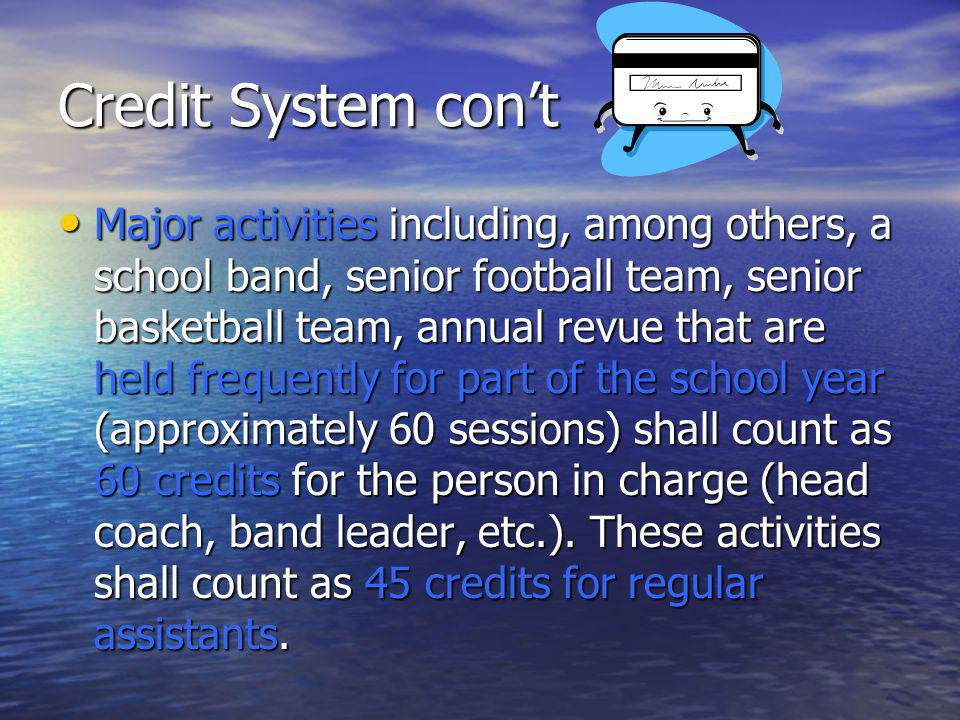 Credit System cont Major activities including, among others, a school band, senior football team, senior basketball team, annual revue that are held frequently for part of the school year (approximately 60 sessions) shall count as 60 credits for the person in charge (head coach, band leader, etc.).