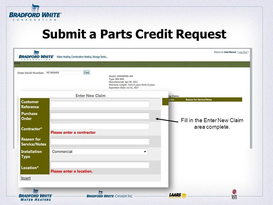 Submit a Parts Credit Request Fill in the Enter New Claim area complete.