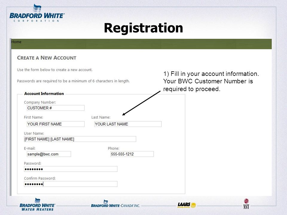 Registration 1) Fill in your account information. Your BWC Customer Number is required to proceed.