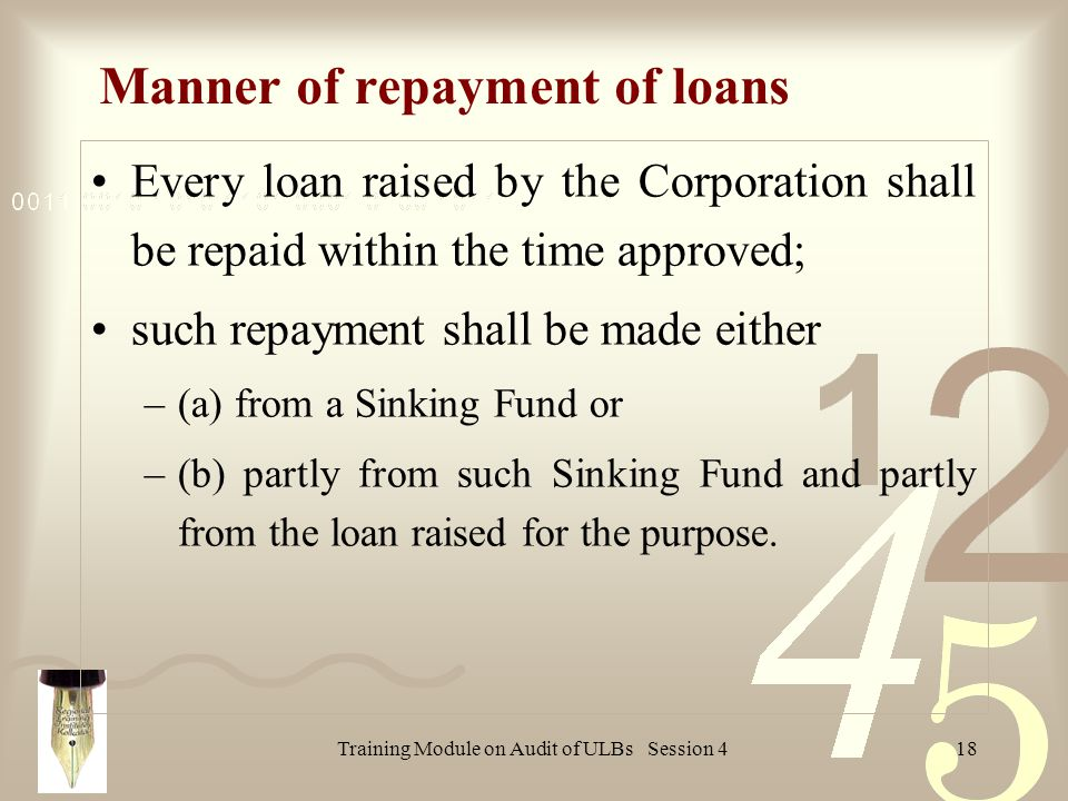 Training Module on Audit of ULBs Session 418 Manner of repayment of loans Every loan raised by the Corporation shall be repaid within the time approved; such repayment shall be made either –(a) from a Sinking Fund or –(b) partly from such Sinking Fund and partly from the loan raised for the purpose.