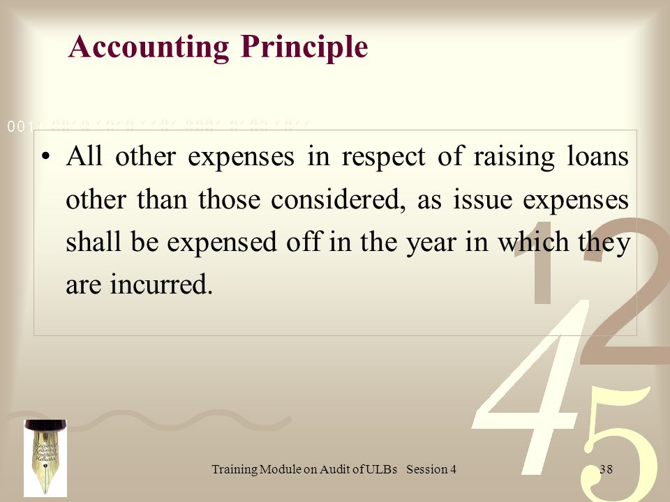 Training Module on Audit of ULBs Session 438 All other expenses in respect of raising loans other than those considered, as issue expenses shall be expensed off in the year in which they are incurred.