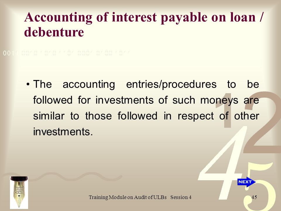 Training Module on Audit of ULBs Session 445 The accounting entries/procedures to be followed for investments of such moneys are similar to those followed in respect of other investments.