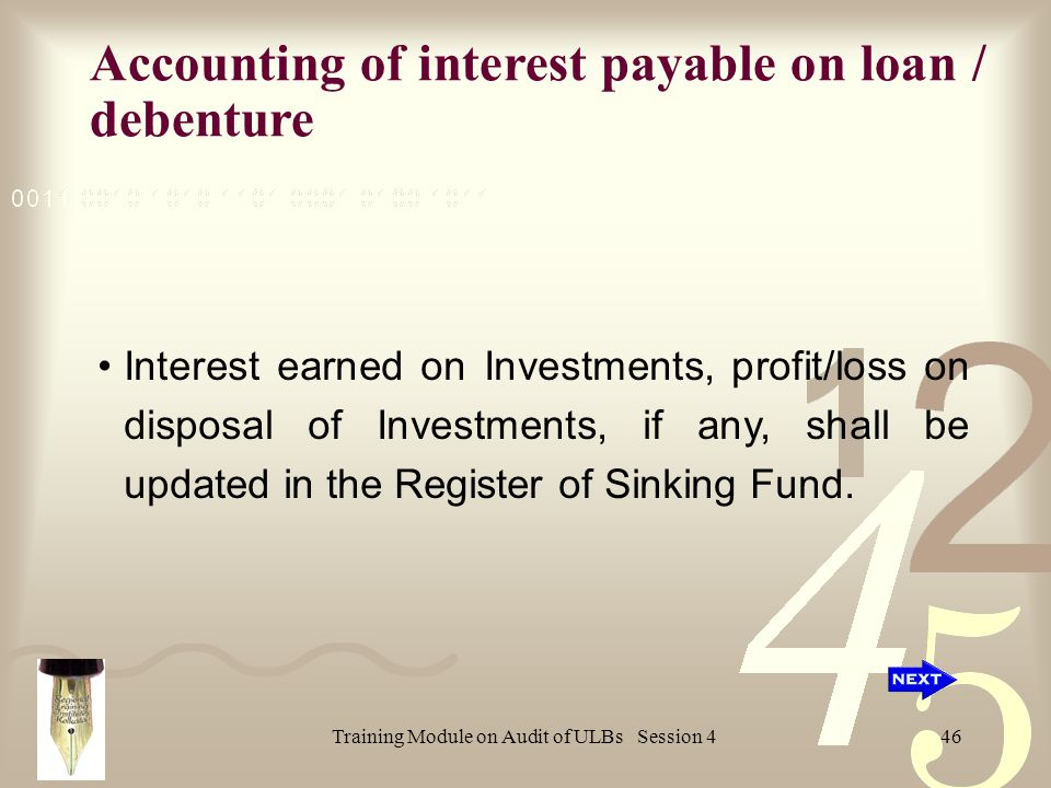 Training Module on Audit of ULBs Session 446 Interest earned on Investments, profit/loss on disposal of Investments, if any, shall be updated in the Register of Sinking Fund.