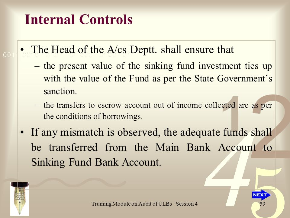 Training Module on Audit of ULBs Session 459 Internal Controls The Head of the A/cs Deptt.
