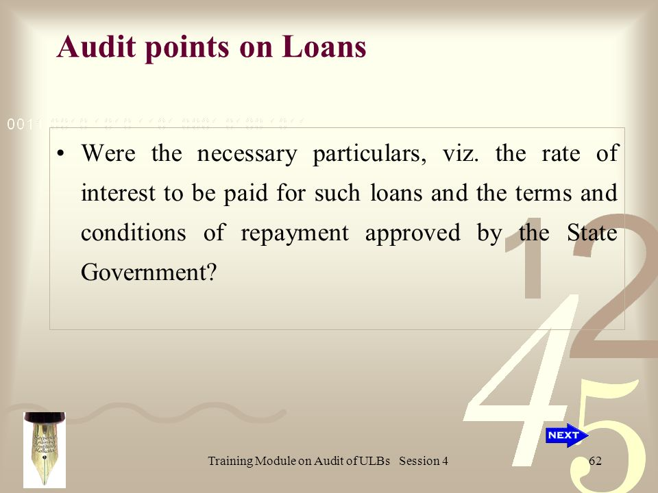 Training Module on Audit of ULBs Session 462 Audit points on Loans Were the necessary particulars, viz.