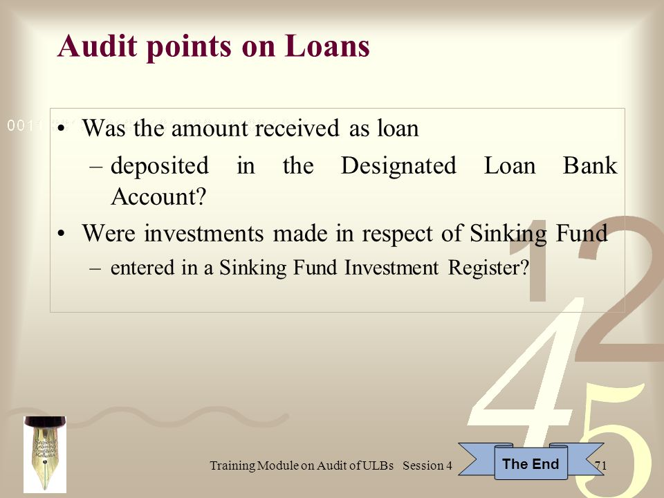 Training Module on Audit of ULBs Session 471 Audit points on Loans Was the amount received as loan –deposited in the Designated Loan Bank Account.