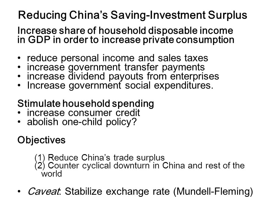 Reducing Chinas Saving-Investment Surplus Increase share of household disposable income in GDP in order to increase private consumption reduce personal income and sales taxes increase government transfer payments increase dividend payouts from enterprises Increase government social expenditures.