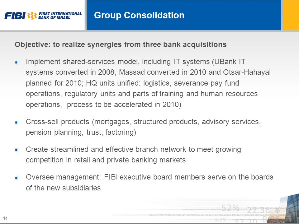 14 Group Consolidation Objective: to realize synergies from three bank acquisitions Implement shared-services model, including IT systems (UBank IT sy