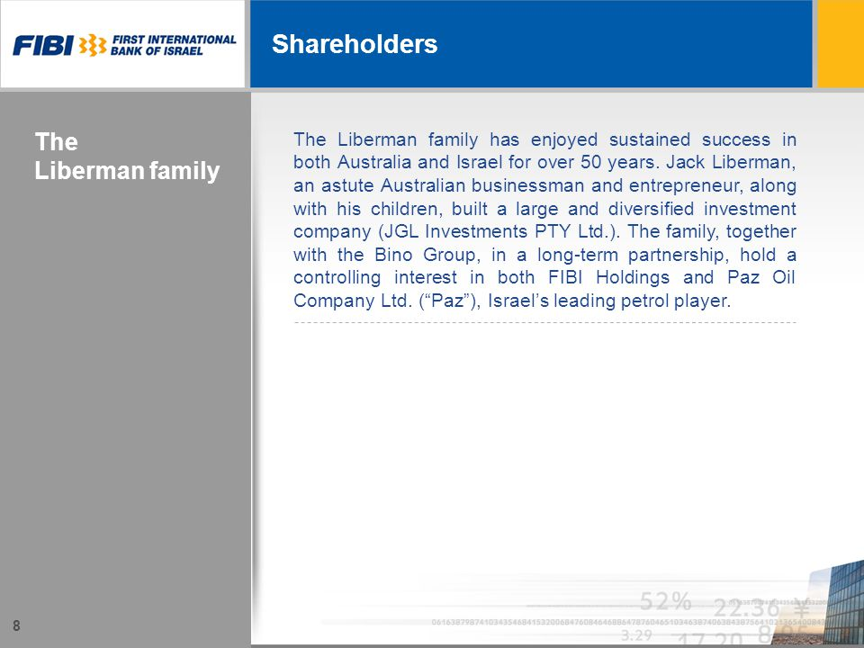 8 Shareholders The Liberman family The Liberman family has enjoyed sustained success in both Australia and Israel for over 50 years.