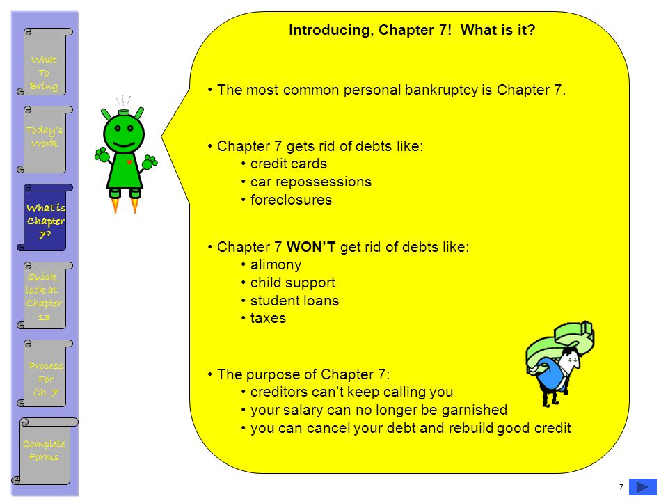 What To Bring What is Chapter 7. Todays Work Process For Ch.