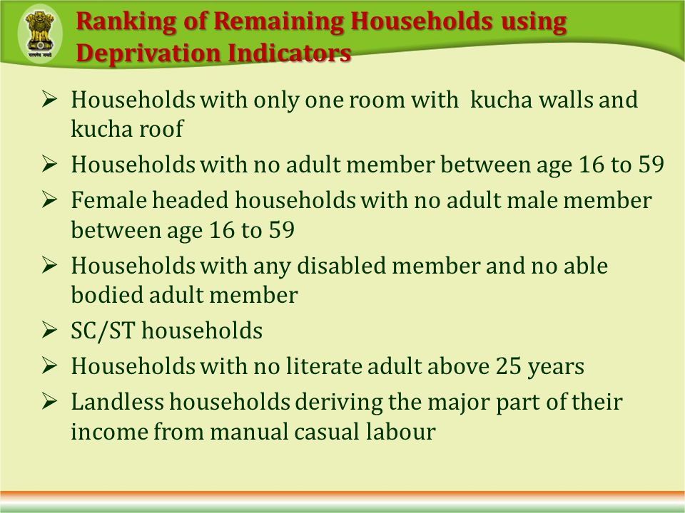 Households with only one room with kucha walls and kucha roof Households with no adult member between age 16 to 59 Female headed households with no adult male member between age 16 to 59 Households with any disabled member and no able bodied adult member SC/ST households Households with no literate adult above 25 years Landless households deriving the major part of their income from manual casual labour Ranking of Remaining Households using Deprivation Indicators