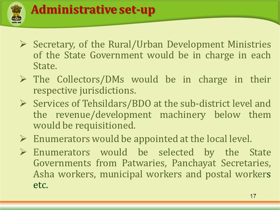 Secretary, of the Rural/Urban Development Ministries of the State Government would be in charge in each State.