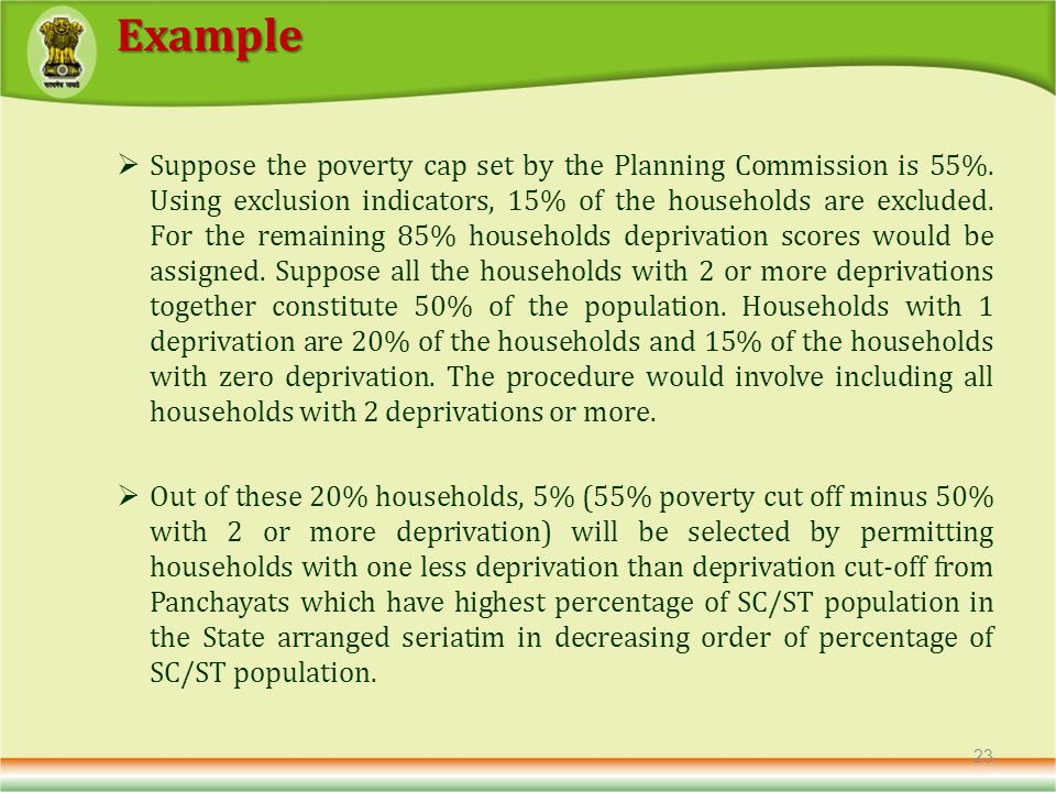 Suppose the poverty cap set by the Planning Commission is 55%.