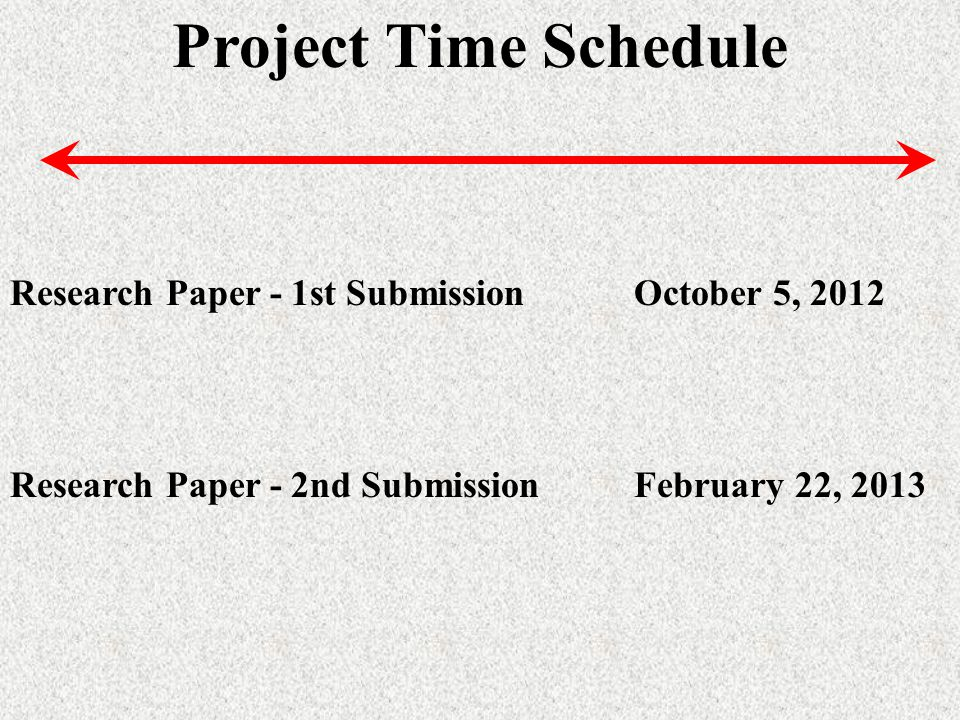Project Time Schedule Research Paper - 1st SubmissionOctober 5, 2012 Research Paper - 2nd SubmissionFebruary 22, 2013