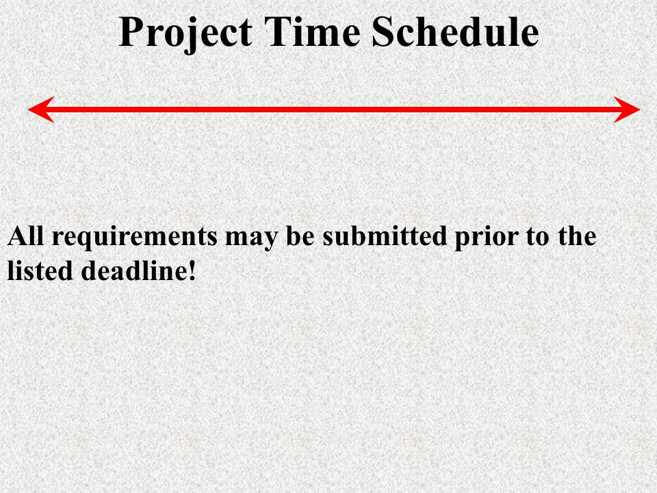 Project Time Schedule All requirements may be submitted prior to the listed deadline!