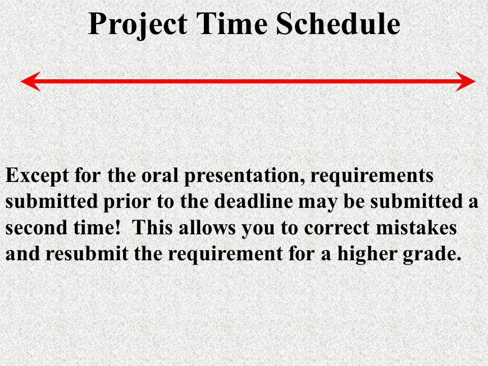 Project Time Schedule Except for the oral presentation, requirements submitted prior to the deadline may be submitted a second time.