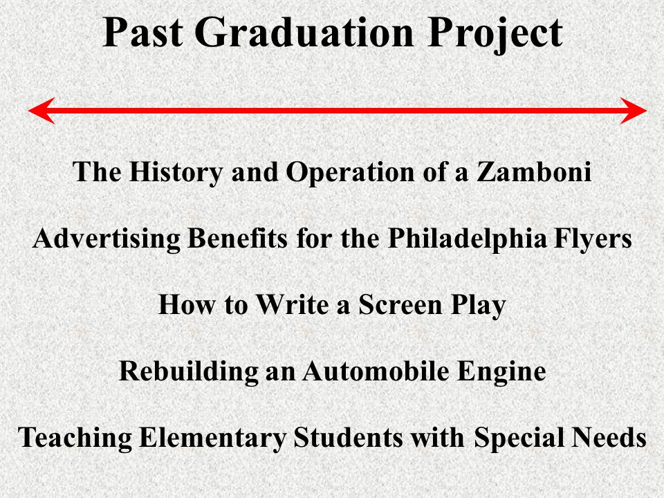 Past Graduation Project The History and Operation of a Zamboni Advertising Benefits for the Philadelphia Flyers How to Write a Screen Play Rebuilding an Automobile Engine Teaching Elementary Students with Special Needs