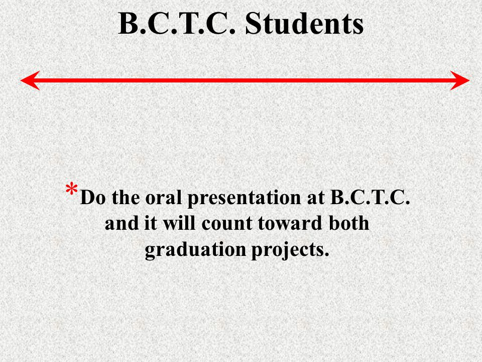 B.C.T.C. Students * Do the oral presentation at B.C.T.C.