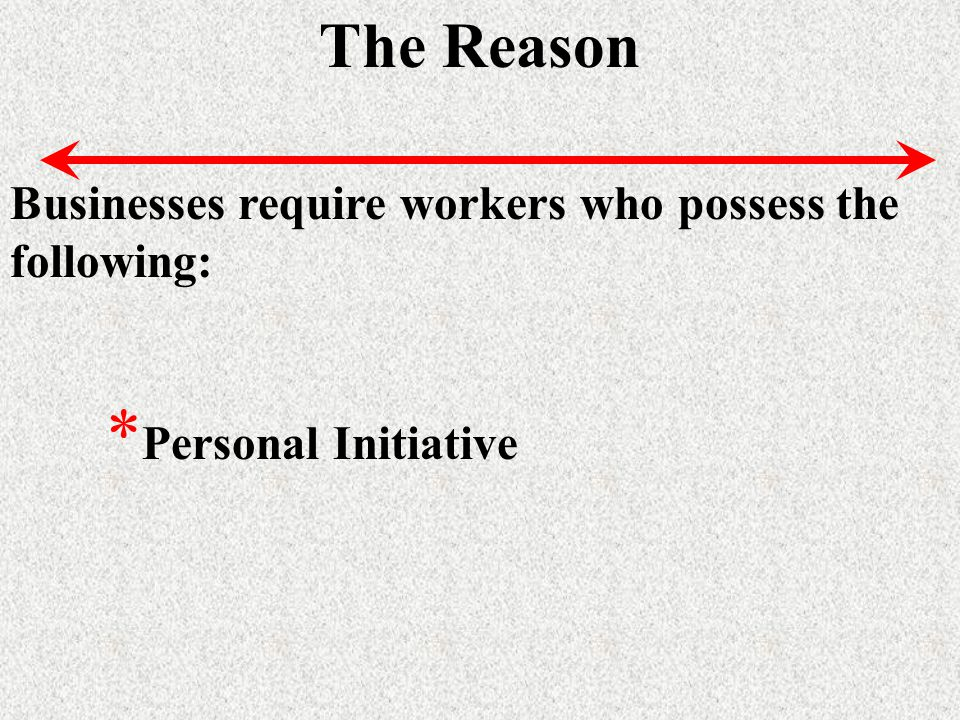The Reason Businesses require workers who possess the following: * Personal Initiative