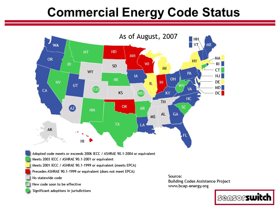 ASHRAE 90.1-2004 Details ASHRAE 90.1-2004 Section 9 – Lighting 9.4 Mandatory Provisions 9.4.1 Lighting Control 9.4.1.1 Automatic Lighting Shutoff Interior lighting in buildings larger than 5000 ft 2 shall be controlled with and automatic control device to shut off building lighting in all spaces.