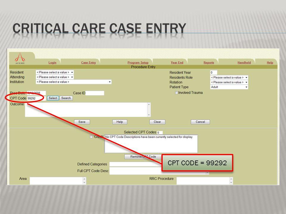 CPT CODE = 99292