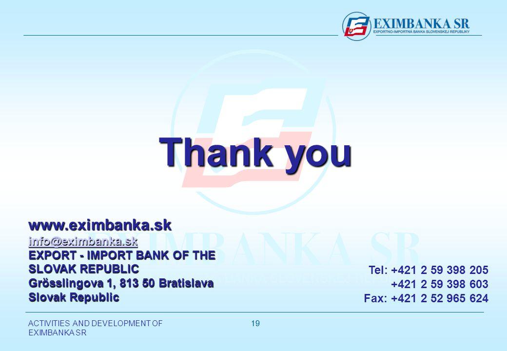 ACTIVITIES AND DEVELOPMENT OF EXIMBANKA SR 19 www.eximbanka.sk info@eximbanka.sk info@eximbanka.sk EXPORT - IMPORT BANK OF THE SLOVAK REPUBLIC Grösslingova 1, 813 50 Bratislava Slovak Republic Tel: +421 2 59 398 205 +421 2 59 398 603 Fax: +421 2 52 965 624 Thank you