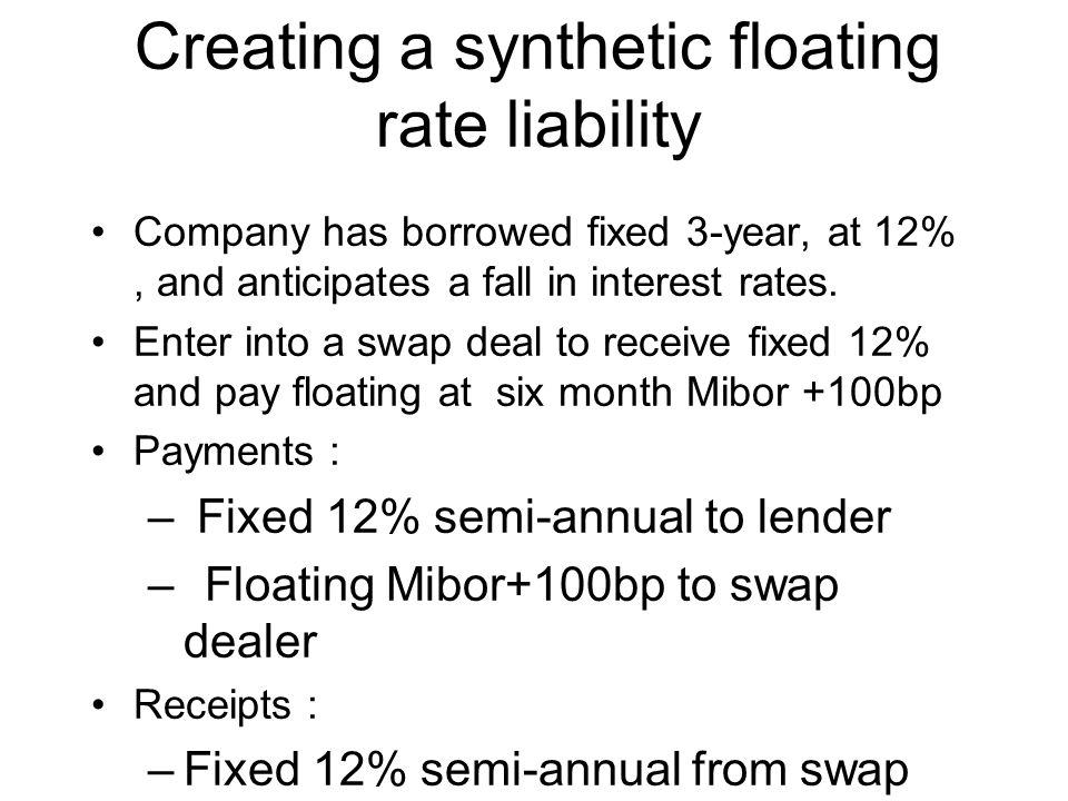 Creating a synthetic floating rate liability Company has borrowed fixed 3-year, at 12%, and anticipates a fall in interest rates.