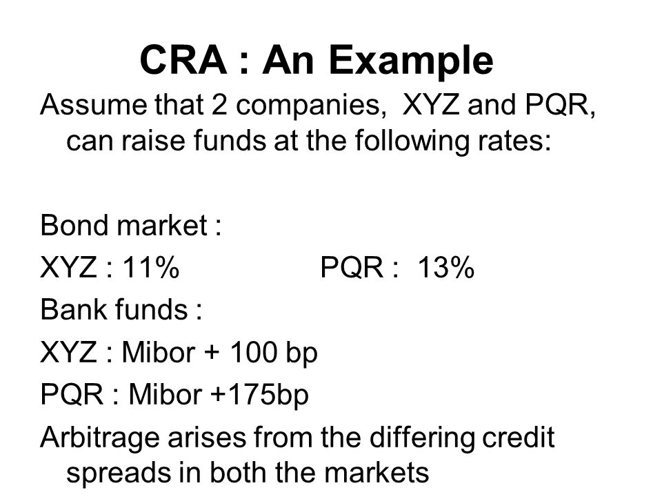 CRA : An Example Assume that 2 companies, XYZ and PQR, can raise funds at the following rates: Bond market : XYZ : 11%PQR : 13% Bank funds : XYZ : Mibor + 100 bp PQR : Mibor +175bp Arbitrage arises from the differing credit spreads in both the markets