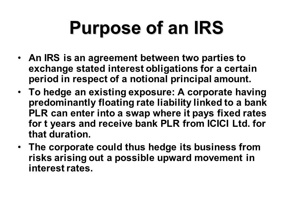 Interest Rate Risk Loss to receiving party Interest Rate Loss to paying party Time