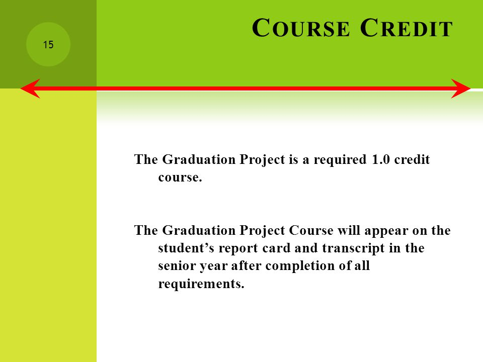 C OURSE C REDIT The Graduation Project is a required 1.0 credit course.