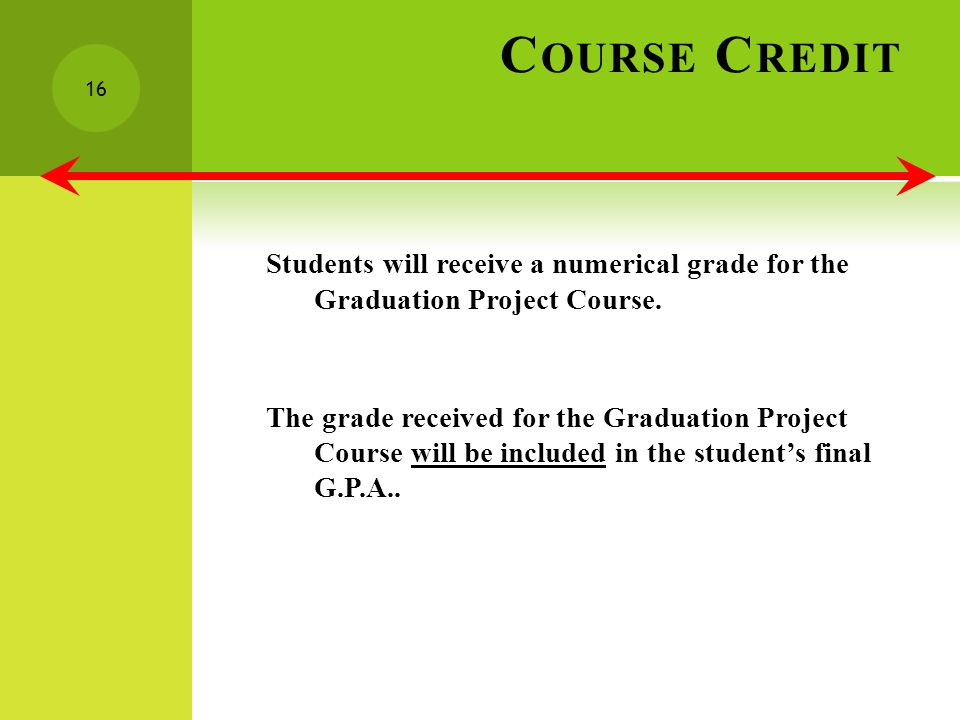 C OURSE C REDIT Students will receive a numerical grade for the Graduation Project Course.