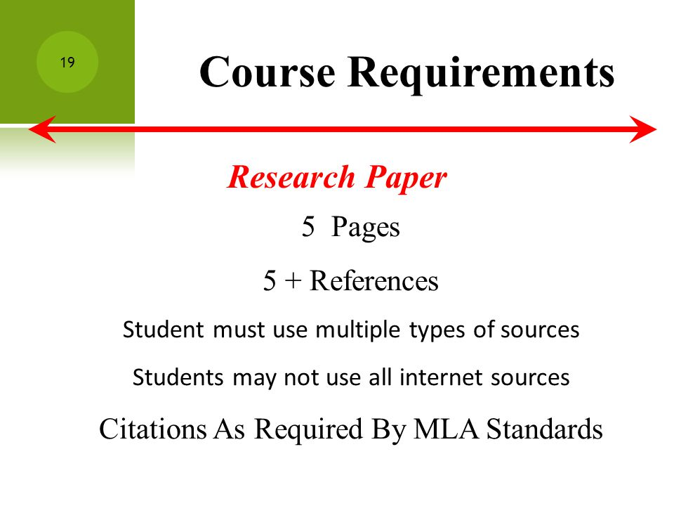 Course Requirements Research Paper 5 Pages 5 + References Student must use multiple types of sources Students may not use all internet sources Citations As Required By MLA Standards 19