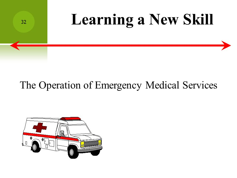 Learning a New Skill The Operation of Emergency Medical Services 32