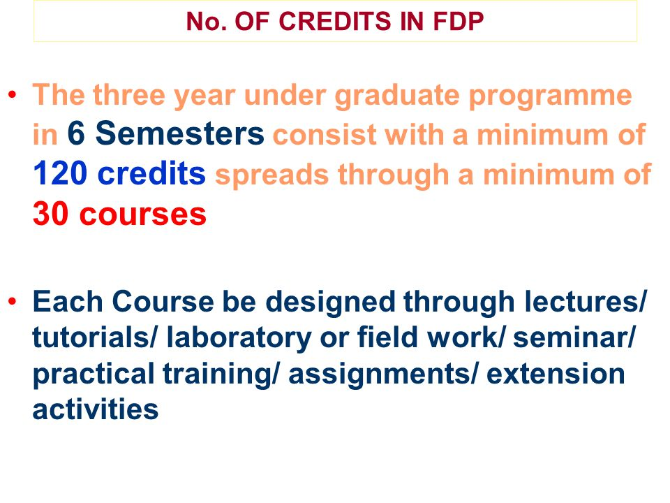 No. OF CREDITS IN FDP The three year under graduate programme in 6 Semesters consist with a minimum of 120 credits spreads through a minimum of 30 cou