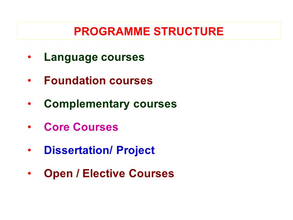 PROGRAMME STRUCTURE Language courses Foundation courses Complementary courses Core Courses Dissertation/ Project Open / Elective Courses