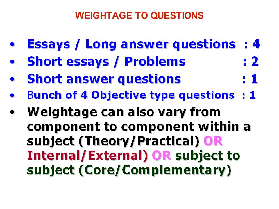 WEIGHTAGE TO QUESTIONS