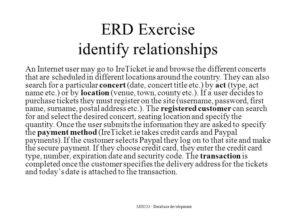 MIS533 / Database development ERD Exercise identify relationships An Internet user may go to IreTicket.ie and browse the different concerts that are scheduled in different locations around the country.