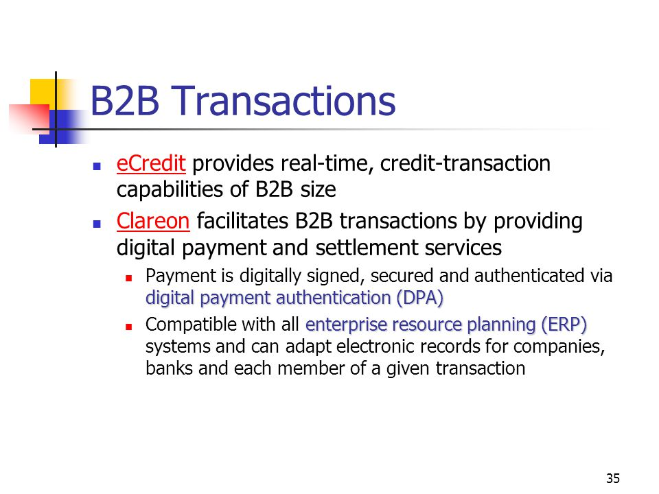 35 B2B Transactions eCredit provides real-time, credit-transaction capabilities of B2B size eCredit Clareon facilitates B2B transactions by providing
