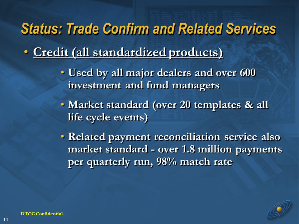 14 DTCC Confidential Status: Trade Confirm and Related Services Credit (all standardized products) Used by all major dealers and over 600 investment and fund managers Market standard (over 20 templates & all life cycle events) Related payment reconciliation service also market standard - over 1.8 million payments per quarterly run, 98% match rate Credit (all standardized products) Used by all major dealers and over 600 investment and fund managers Market standard (over 20 templates & all life cycle events) Related payment reconciliation service also market standard - over 1.8 million payments per quarterly run, 98% match rate