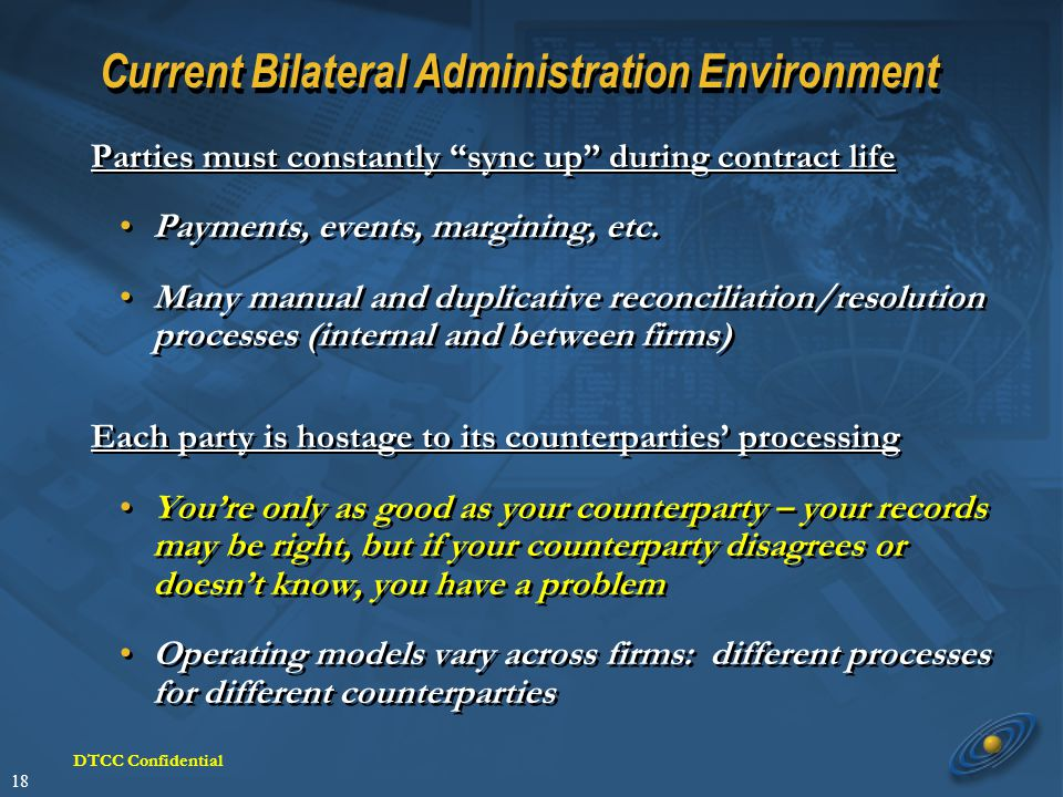 18 DTCC Confidential Current Bilateral Administration Environment Parties must constantly sync up during contract life Payments, events, margining, etc.